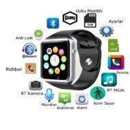 Merystyle-Smart Watch A1 Okosóra telefonként is! Szilikon szíjjal, magyar nyelvű menüvel - Fekete színben