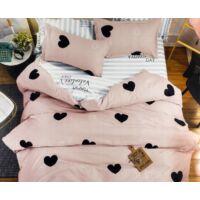 Rózsaszín 7 részes ágyneműhuzat garnitúra Fekete szívekkel