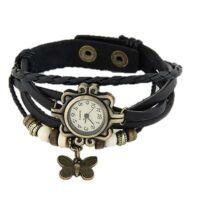 Vintage női karkötő óra fekete színben