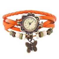 Vintage női karkötő óra narancs színben