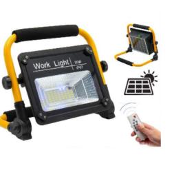 Hordozható akkumulátoros LED munkalámpa beépített napelemmel és távirányítóval.  100 w-os