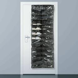 Praktikus ajtóra szerelhető cipőtároló 26 pár cipőnek - fekete színben