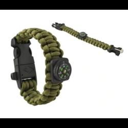 Paracord túlélő karkötő iránytűvel zöld színben