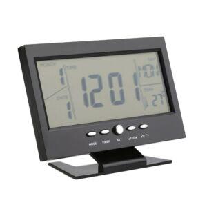 Digitális óra LCD kijelzővel és hangvezérléssel, hőmérő funkcióval DS-8082 - Fekete