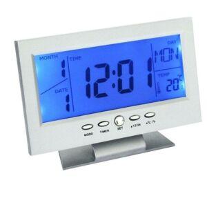 Digitális óra LCD kijelzővel és hangvezérléssel, hőmérő funkcióval DS-8082 - Ezüst