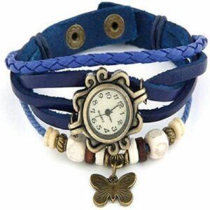 Vintage női karkötő óra kék színben