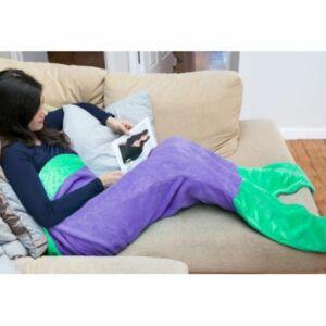 Sellő farkú takaró, lila-zöld