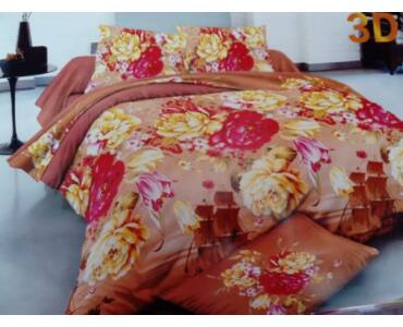 Sofy 3D Piros sárga virágos mintás 7-részes ágynemű