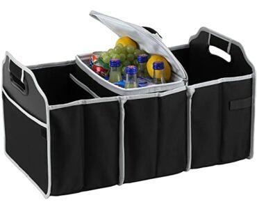 Többrekeszes csomagtartó rendező hűtőtáskával - Fekete színben