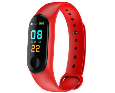 M3 Smart Fitness okoskarkötő pulzus és vérnyomás mérővel - piros színben