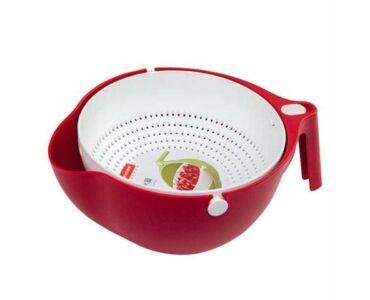 Praktikus gyümölcs mosó és tésztaszűrő kosár - Piros színben