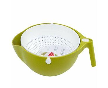 Praktikus gyümölcs mosó és tésztaszűrő kosár - Zöld színben