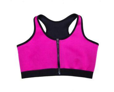 Neoprén cipzáros melltartó - Hot Shapers - pink L-es méret