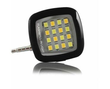 Mini külső LED vaku okostelefonhoz - fekete