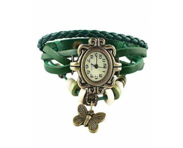 Vintage női karkötő óra zöld színben