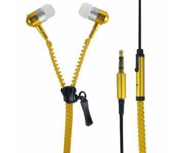 Cipzár dizájn fülhallgató - sárga
