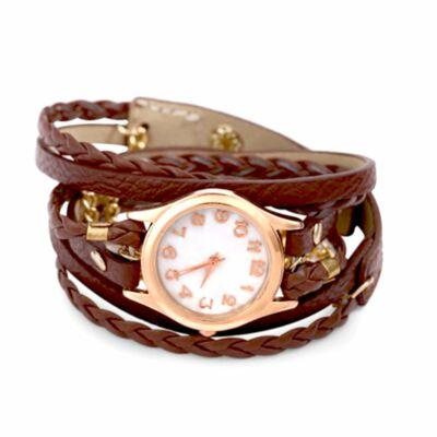 Divatos női karkötő óra hosszú bőrszíjjal - barna