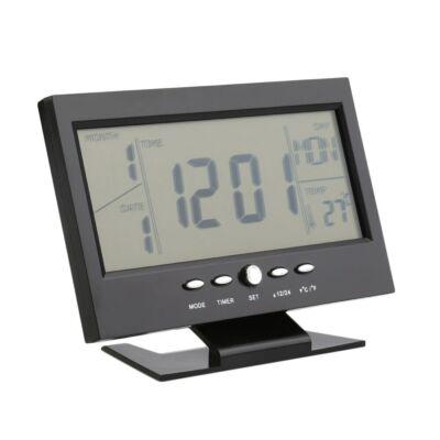 Merystyle@Digitális óra LCD kijelzővel és hangvezérléssel, hőmérő funkcióval DS-8082 - Fekete