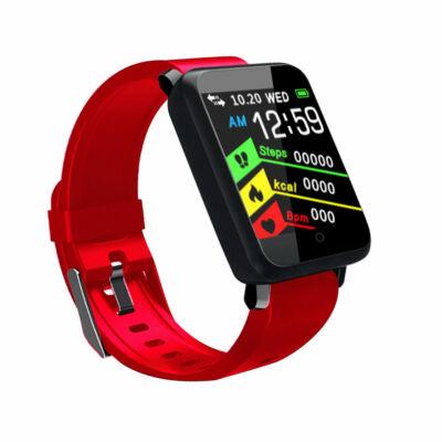 F1 pulzus és vérnyomásmérőmérő Fitness Sport Smart Watch - Piros