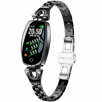 H8 exkluzív női dinamikus smart fitness karkötő pulzus és vérnyomásmérővel - Fekete