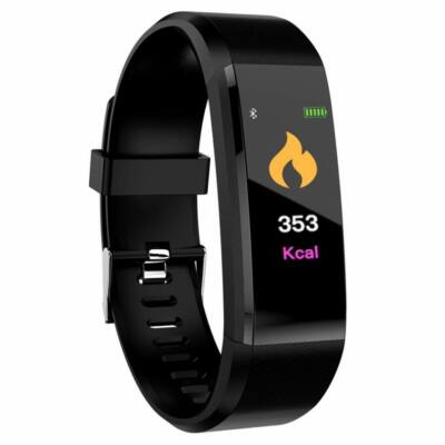 Merystyle-ID115 Smart Fitness okosóra pulzus és vérnyomásmérővel - Fekete