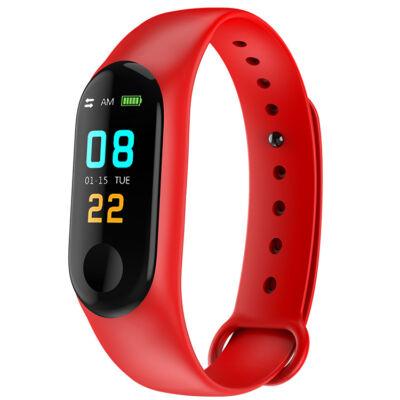 Merystyle-M3 Smart Fitness okoskarkötő pulzus és vérnyomás mérővel - piros színben