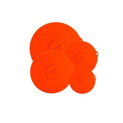 Szilikon fedő szett 4 db-os - Narancs