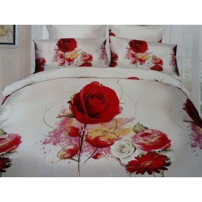 3D Piros rózsás mintás 7-részes ágynemű