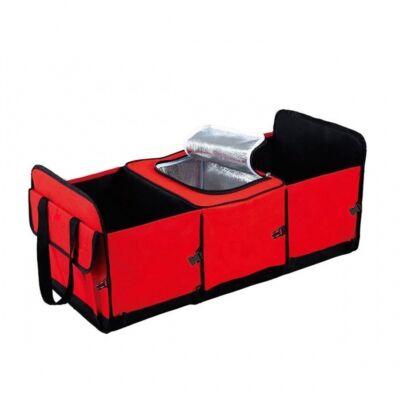 Többrekeszes csomagtartó rendező hűtőtáskával - Piros színben