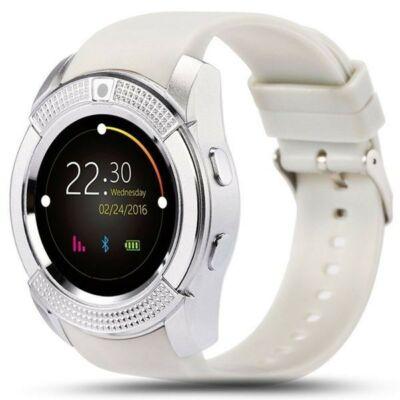V8 Android/iOS kamerás - okosóra SIM foglalattal, sport funkcióval - Fehér színben