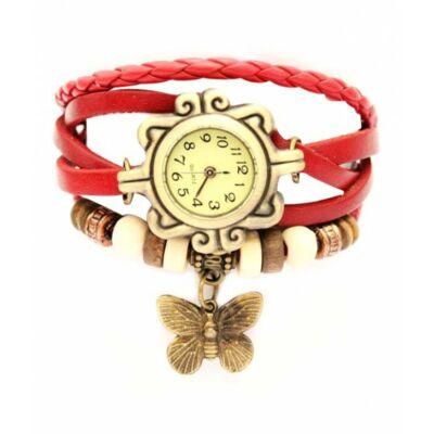 Vintage női karkötő óra piros színben