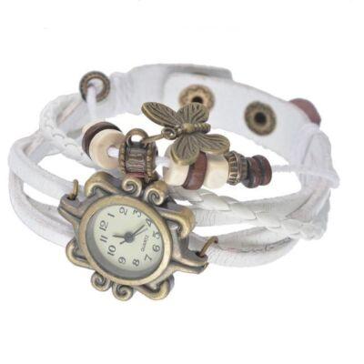 Vintage női karkötő óra fehér színben