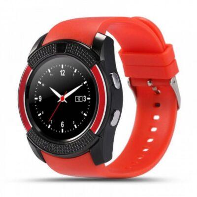 Merystyle@ V8 Android/iOS kamerás - okosóra SIM foglalattal, sport funkcióval - Piros színben