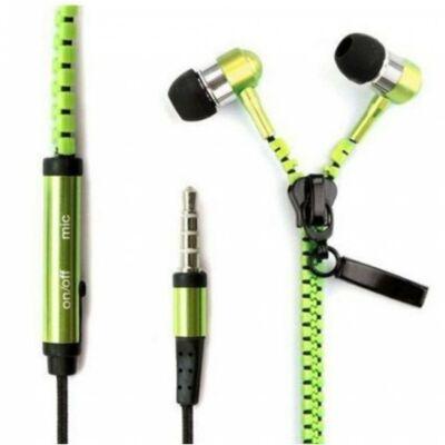 Cipzár dizájn fülhallgató - zöld
