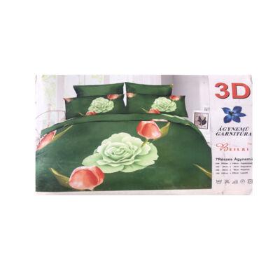 3D Zöld rózsás mintás 7-részes ágynemű garnitúra