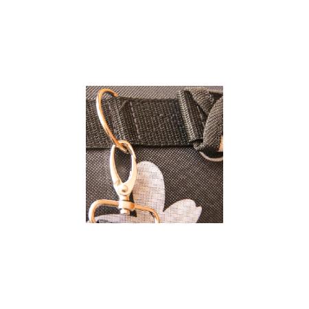 Kisállat szövet hordozótáska vállpánttal, kis méretben - Fekete, virágos színben
