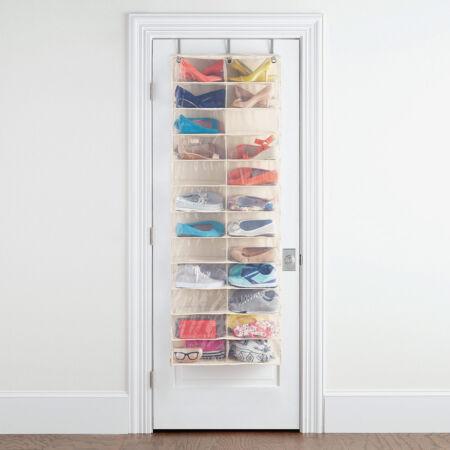 Praktikus ajtóra szerelhető cipőtároló 26 pár cipőnek - fehér színben