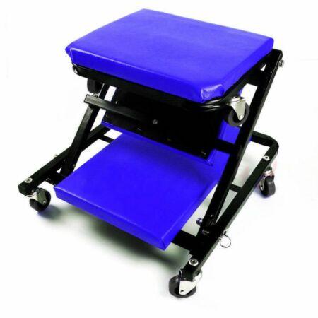Gurulós szerelőszékké alakítható aláfekvő fejtámlával és 6 darab 360 °-ban forgatható kerékkel