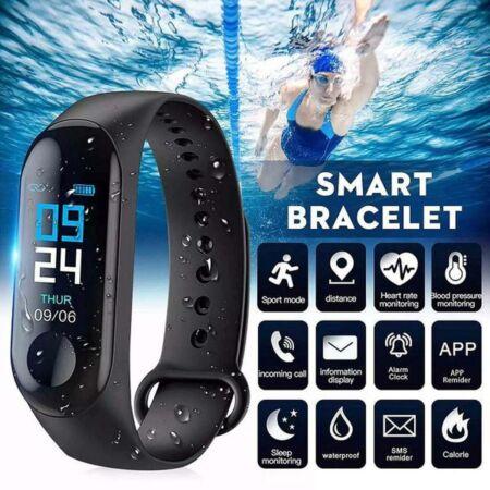 M3 Smart Fitness okoskarkötő pulzus és vérnyomás mérővel - fekete színben