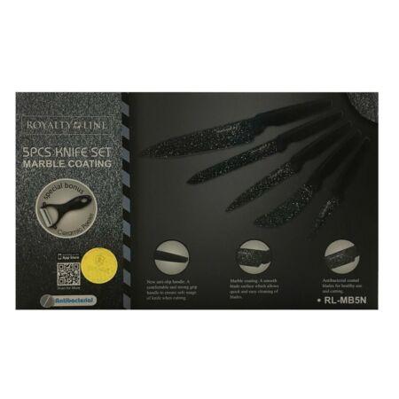 Royalty Line 5 részes márványbevonatos fekete késkészlet ajándék hámozóval