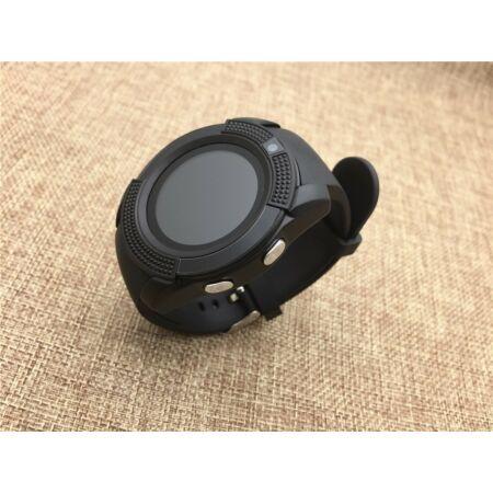 V8 Android/iOS kamerás - okosóra SIM foglalattal, sport funkcióval - Fekete színben